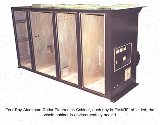 Four Bay Aluminum Radar Electronics Cabinet, each bay is  EMI/RFI shielded, the whole cabinet is environmentally sealed